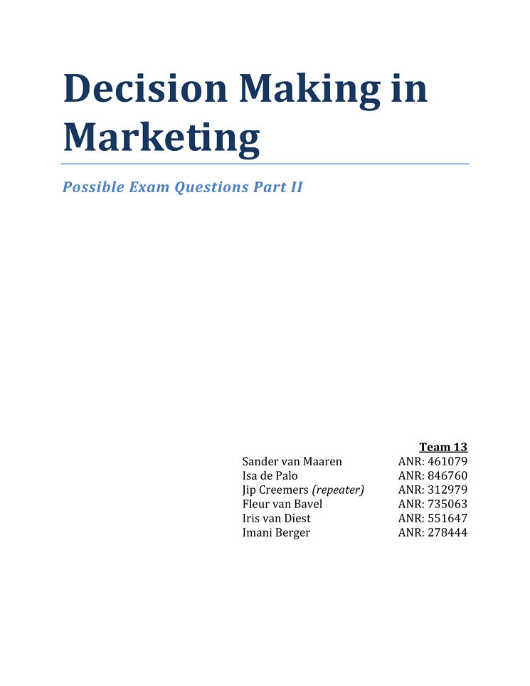 decision making in marketing Information search and decision making problem recognition one model of consumer decision making involves several steps the first one is problem recognition—you.