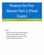 Finance for Pre-master: final exam summary including 58 exam and 105 quiz exercises and answers